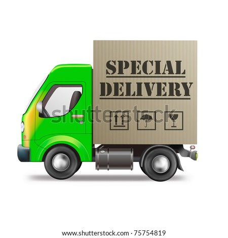 special delivery truck shipping cardboard box with urgent package from online internet web shop - stock photo
