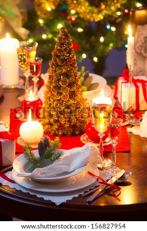 Special dinner for Christmas Eve - stock photo