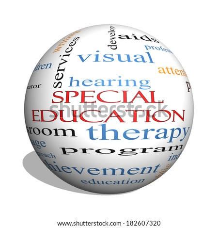 Special Education 3D sphere Word Cloud Concept with great terms such as student, individualized, program and more. - stock photo