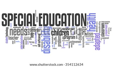 Special education needs - disability help word cloud. - stock photo
