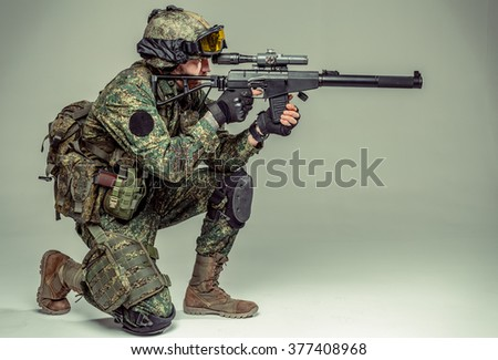 Special force soldier / strike ball player - stock photo