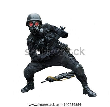 Special force soldier wearing gask mask posing funny in isolation background - stock photo