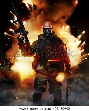 Special Forces Soldier Man Hold Machine Gun on the Background of the Explosion