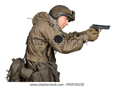 Special forces soldier  on white background