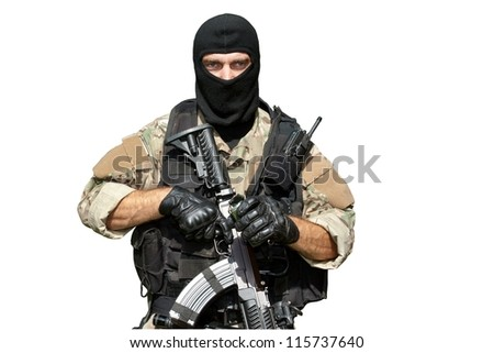 "Special Forces soldier with an assault rifle ""sa.58"" isolated on white - stock photo"