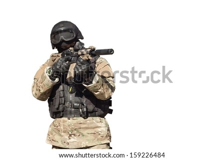 Special Forces soldier, with assault rifle, isolated on white - stock photo