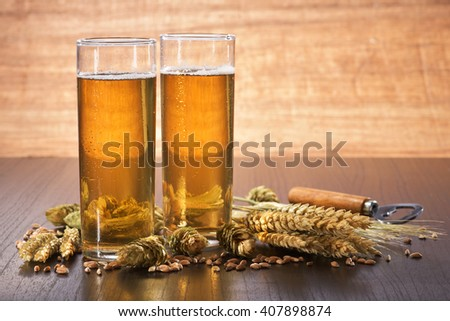 Special German Cologne beer glasses with hops, wheat, grain, barley and malt