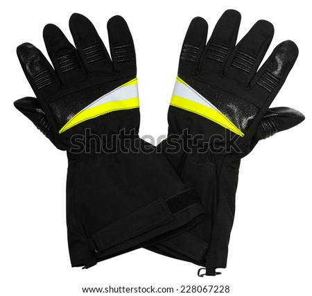 Special gloves for firefighters on a white background - stock photo