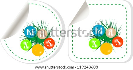 Special new year stickers set, raster - stock photo