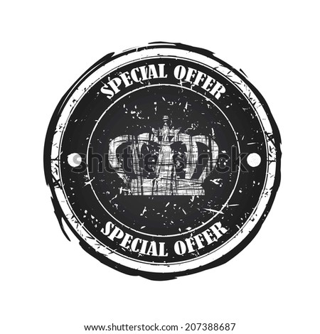 Special offer  black rubber stamp on white background.