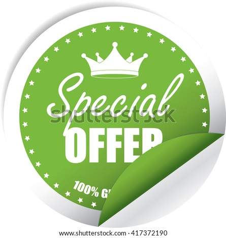 Special Offer Green Label, Sticker, Tag, Sign And Icon Banner Business Concept, Design Modern. - stock photo