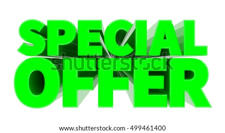 SPECIAL OFFER green word on white background illustration 3D rendering