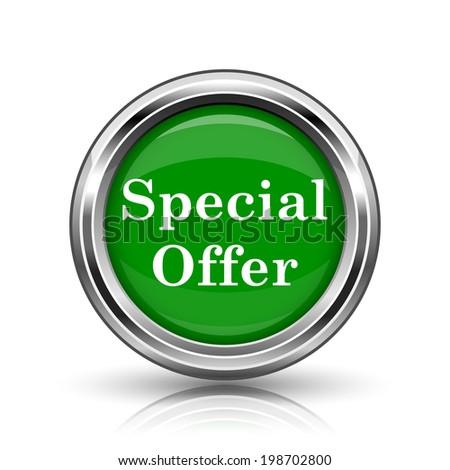 Special offer icon. Metallic internet button on white background.  - stock photo