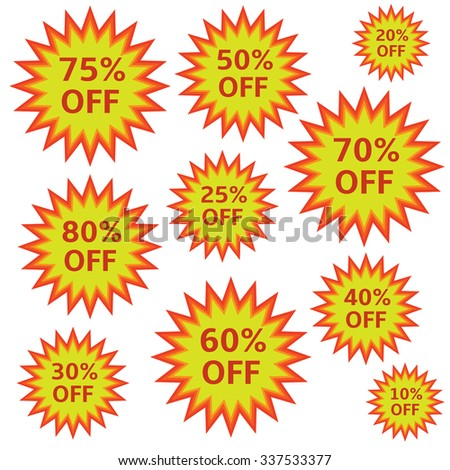Special offer label shopping discount icons price signs. Raster illustration