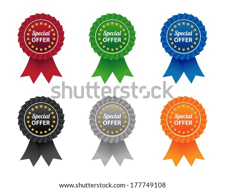 Special offer labels. Vector available. - stock photo
