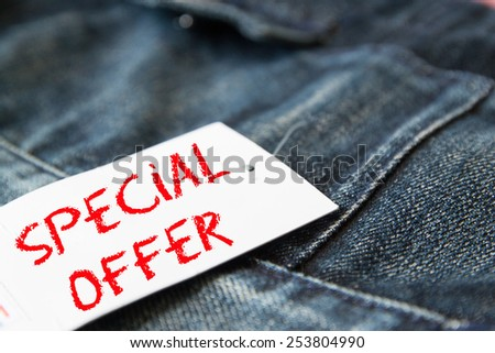 special offer  on tag paper  - stock photo