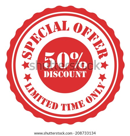 Special Offer 50 Percent Discount Limited Time Only on Red Vintage Badge, Icon, Button, Label Isolated on White - stock photo
