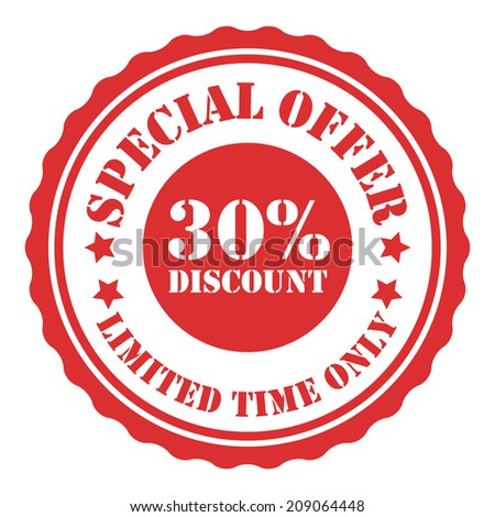 Special Offer 30 Percent Discount Limited Time Only on Red Vintage Badge, Icon, Button, Label Isolated on White - stock photo