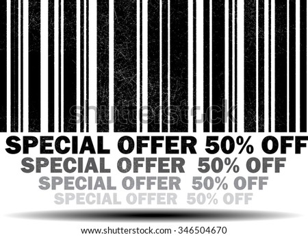 Special offer 50 percent off - black barcode grunge rubber stamp design isolated on white background. Vintage texture.  - stock photo