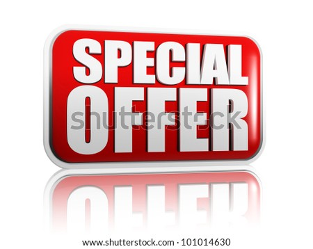 Special offer red banner with white letters - stock photo