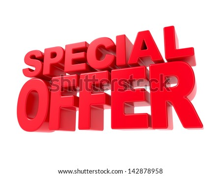 Special Offer - Red 3D Text. Isolated on White Background. - stock photo