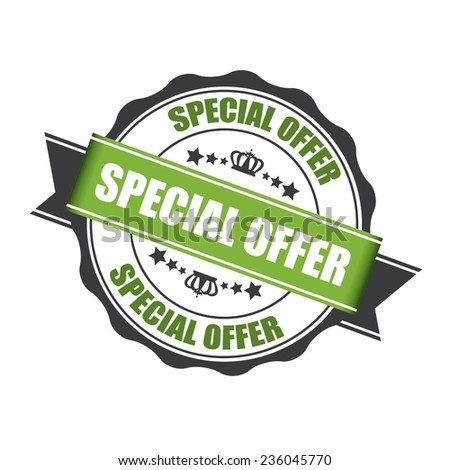 Special Offer Stamp, Label, And Sticker With Green Color, Stars And Crown Isolated On White Background.