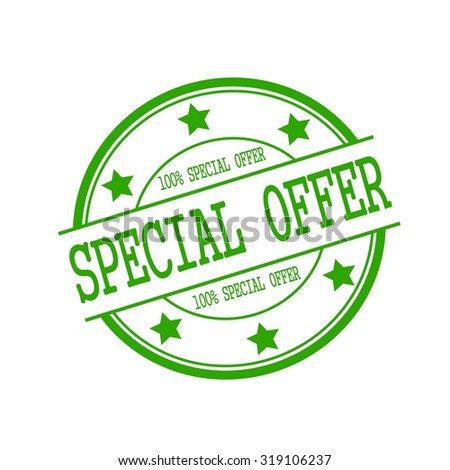 Special Offer stamp text on green circle on a white background and star