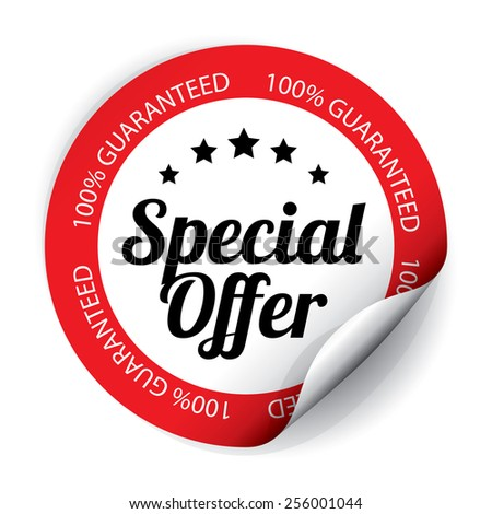 Special Offer Sticker and Tag on White color - Red