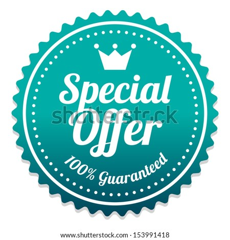 Special Offer Sticker and Tag Vintage and Gradient - Blue Green - stock photo