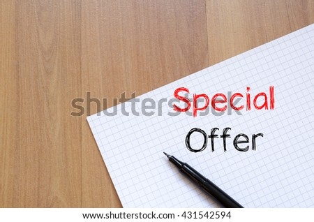 Special offer text concept write on notebook