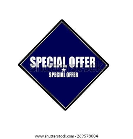 Special Offer white stamp text on blue black background - stock photo