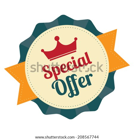 Special Offer With Crown on Blue Vintage Badge, Icon , Sticker Isolated on White - stock photo