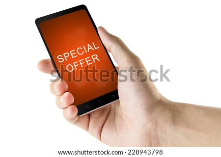 special offer word on digital smart phone isolated white background - stock photo