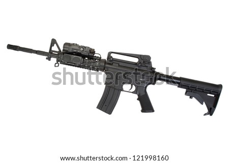 special operation carbine on white background - stock photo