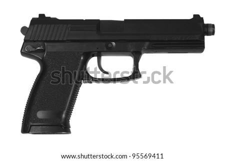 special operation handgun on white background - stock photo
