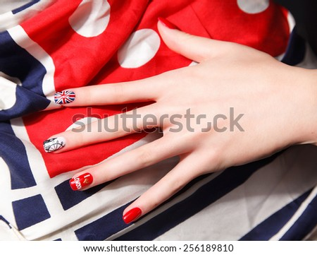 Special painted fashionable nails - stock photo