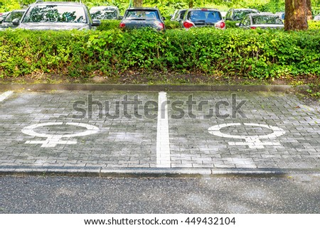 Special Parking places for women in the public car Park, Germany