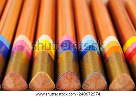 Special pencils with multicolour lead to produce varied trace - stock photo