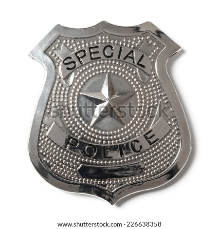 Special police badge with clipping path isolated on white - stock photo