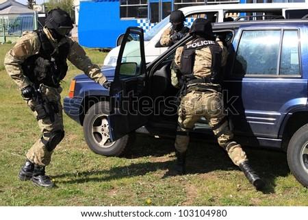 special police commandos arrest a terrorist - stock photo