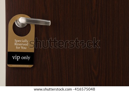 special reserved door sign hang on the door handle - stock photo