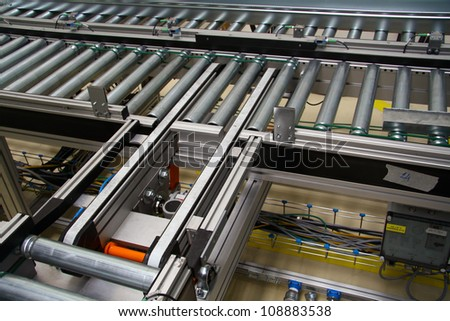Special roller conveyer - stock photo