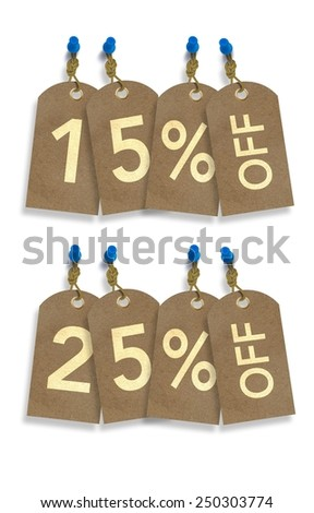 Special Sale Paper Tags Isolated on White. 15% and 25% Off Discount Tags Illustration - stock photo