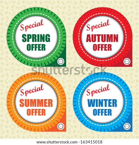 Special spring offer, autumn offer, summer offer, winter offer label - jpg. - stock photo