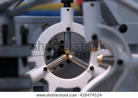 Special support for long parts - the adaptation of the lathe. - stock photo