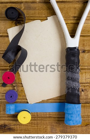 Special tape to repair the handle of a tennis racket. - stock photo
