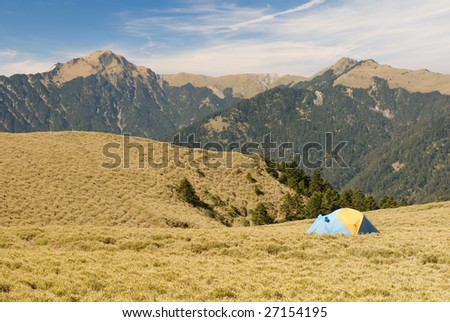 Special tent set on the grassland of high mountain.