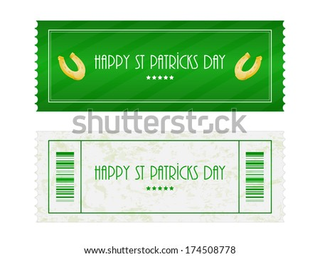 special ticket for St. Patrick's Day - stock photo