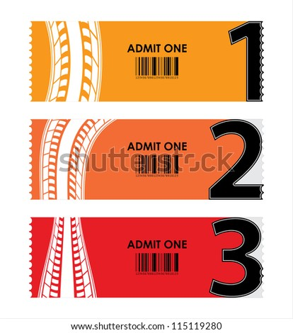 special tickets with numbers and tire design - stock photo