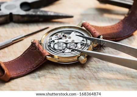 Special tools for repair of clocks  - stock photo